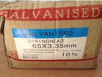 Galvanised spring head nails approx 10kg box (65mm X 3.35mm)