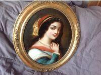 Antique Victorian portrait, oil on glass, gilt frame