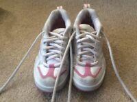 Pink and white heeleys