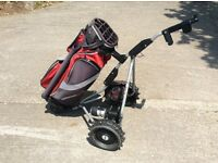 Golf Trolley Powercaddy freeway with battery and bag
