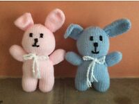 Hand knitted toy rabbits