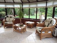 Wicker & Cane Conservatory Furniture - 2 seater settee, 2 chairs, footstool, 2 glass topped tables