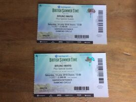 Bruno Mars Tickets Hyde Park Sat 14 July ( less than face value) Diamond Circle