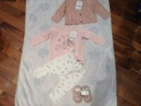 Next baby outfit brand new 3-6 months outfit shoes knitted cardigan