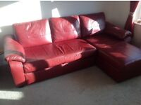 Red Leather Sofa Bed With Under Seat Storage
