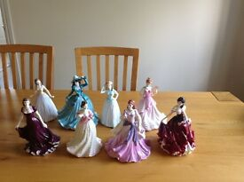 Royal Doulton and Coalport ladies figurines