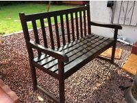 2 seater hard wood garden bench