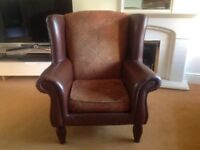 Leather/fabric armchair