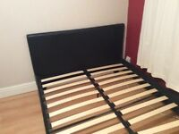 Faux black leather Double bed
