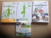 4 wii games- super mariokart, wii fit, wii fit plus and wii sports