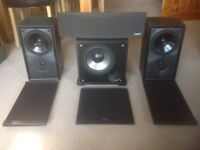 Mission 100w Stereo Speaker 700 Leading Edge + M7C1 Centre speaker + M2Sas Sub Woofer