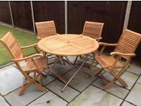 4 Wooden Chairs & Folding Wooden Circular Table