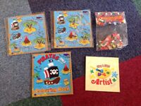 FREE card jigsaw puzzles and colouring books (pirate/treasure map/play doh)