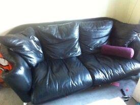 Black Leather sofa, 3 seater plus 2 seater