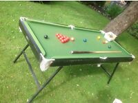 Snooker table, 6ft, snookered balls and pool balls