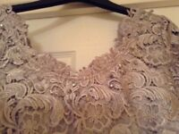 Silver coloured lace dress size 14 with hat, bag and shoes size 5