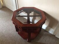 Coffee table mahogany with glass top insert