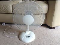 White electric rotating fan. 3 different speed settings. Hardly been used