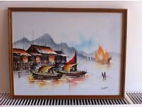Paintings, two original Acrylic Chinese riverscapes by P Chan