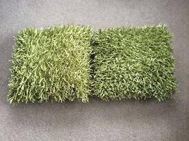 Pair of Next lime green shaggy glisten cushions