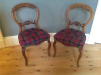 Pair of beautiful antique balloon back chairs upholstered in tartan wool