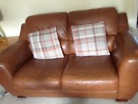 2 & 3 seater furniture village tan brown leather sofas