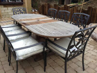 QUALITY Large Teak Garden Table + 8 BRAND NEW Garden Chairs **Delivery**