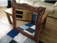 Pattern wooden framed mirror