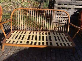Ercol Windsor Bergere style sofa.Blonde elm and beechwood.