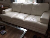 Originally DFS only 2 years old a pair of cream leather 3 seater hardly used sofas priced to sell
