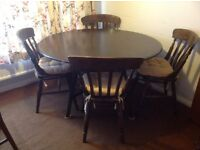 Ercol dining table plus four chairs