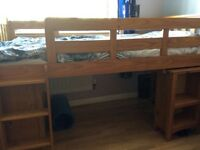 Single Sleeper wooden bunk bed with storage room underneath used from next