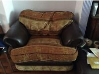 3Piece Sofa Set, 1 three seater + 2x single seater half leather and fabric in ethnic elephant design