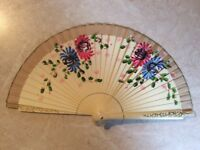 Antique hand painted wood and cloth fan