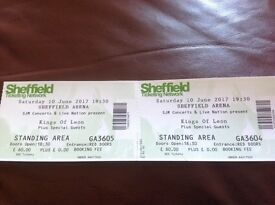2 STANDING TICKETS FOR THE KINGS OF LEON @ SHEFFIELD ARENA ON SATURDAY 10TH JUNE
