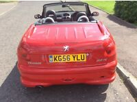 Peugeot 206 Hard Top Allure HDI Coupe 1600cc. Red.