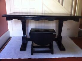 2 Black Gothic Tables: Refectory Dining Table and Coffee Table Christmas Tree Stand / Can Deliver