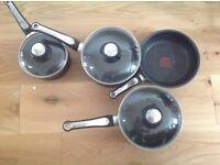 Set of 3 tefal saucepans + 1 frying pan - good condition