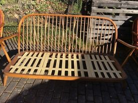 Ercol Windsor Berger style sofa.Blonde elm and beech wood