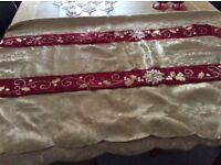 Large gold tablecloth and centre runner reversible