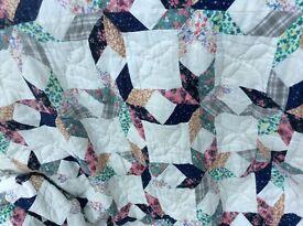 VIntage Handmade quilted Patchwork Bedspread
