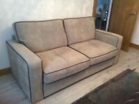 3 SEATER SOFA AND 1 MATCHING ARMCHAIR IN SILVER GREY WITH NAVY BLUE PIPING