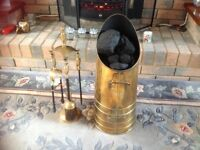 Brass coal scuttle and companion set