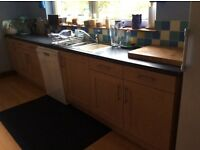 Kitchen cupboards and work tops