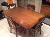 Solid Oak Rectangular Dining/Kitchen table + 4 chairs