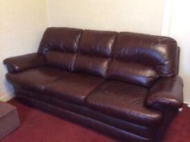 Brown Leather Sofa & 2 Arm Chairs for Sale