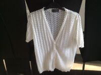 white knitted short sleeved cardigan size M