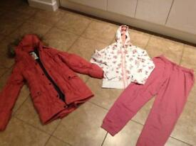 Girls coat and tracksuit age 11-12