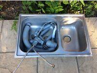 Kitchen sink with kitchen water tap