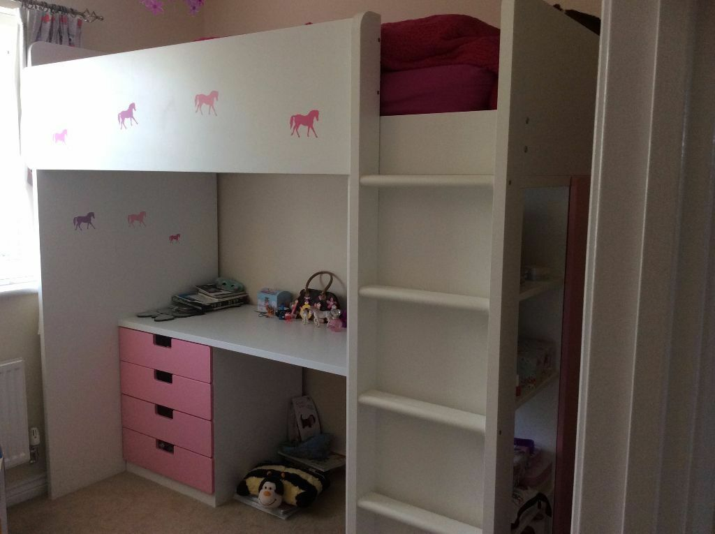 Ikea Stuva Loft Bed Combo W 3 Drawers 2 Doors White Pink